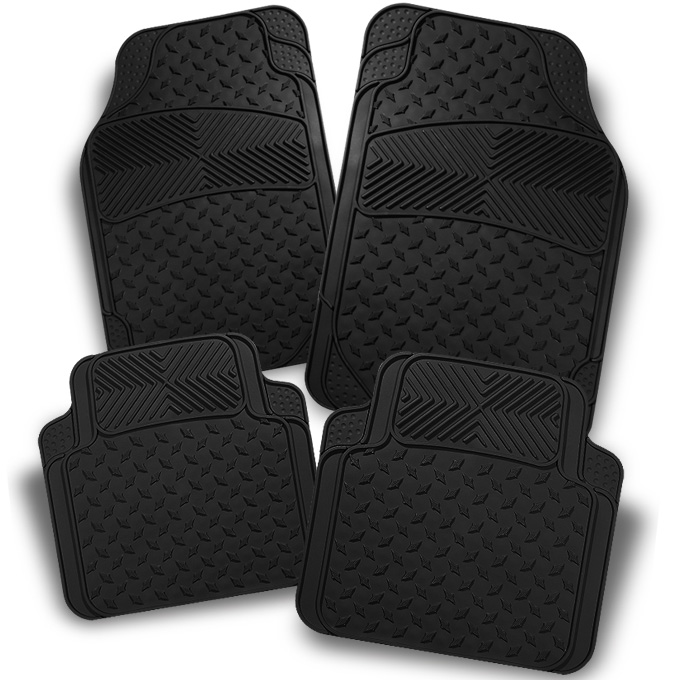 All Weather Metal Style Black Car Front+Rear Floor Mats 4 Pcs Liner Heavy Duty by Artzone