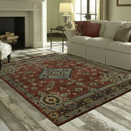 Mainstays Rustic Multi Persian Medallion Print Area Rug or Runner Art Com Persian Print
