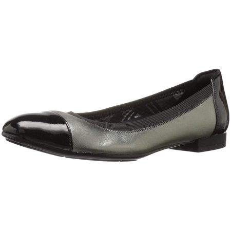 Cap Toe Leather Flats (Naturalizer Womens Therese Leather Cap Toe Slide)