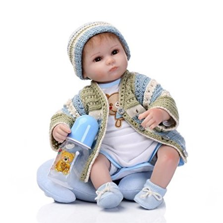 c562a181c5ce Nicery Reborn Baby Doll Soft Simulation Silicone Vinyl Cloth Body 18inch  45cm Magnetic Mouth Lifelike Vivid Boy Girl Toy for Ages 3+ Blue Green Eyes  Open