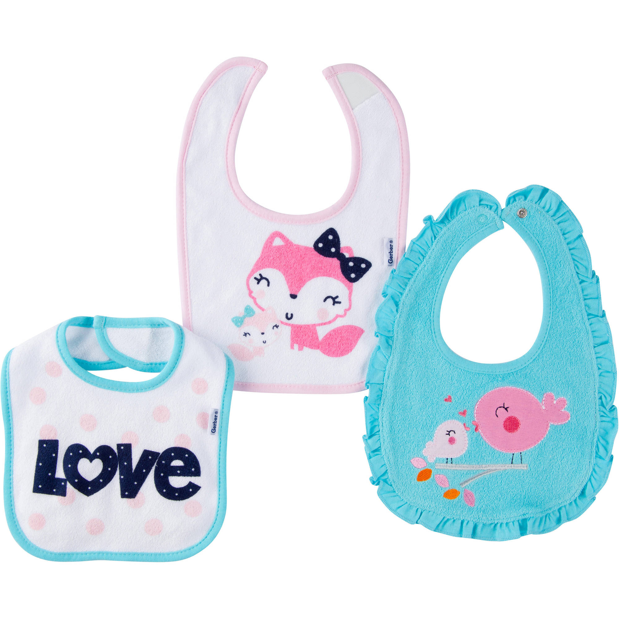 Gerber Newborn Baby Girl Terry Bibs, 3-Pack