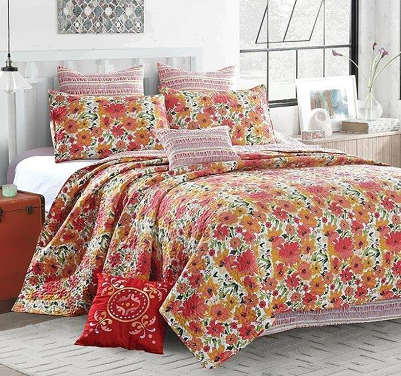 Reversible Coastal Beach Seashell Quilt Set Coral Crush - King Size