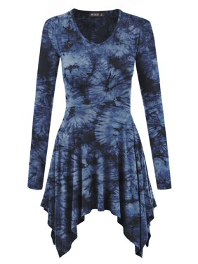 5a60369ac Product Image MBJ Womens Tie-Dye V neck Long Sleeve Pleats Tunic Top