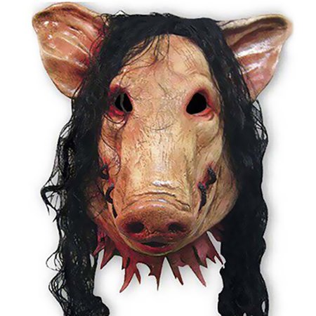 Rubber Face Masks Halloween (Halloween Mask, Scary Halloween Mask for Masquerade, Carnival, Halloween decoration and Halloween Costume Party, Animal Mask Latex Pig Head Full Face Mask for Kids Adults Women)
