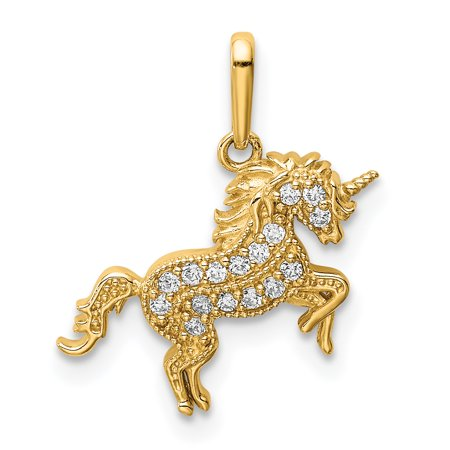 14K Yellow Gold Plated Rearing Unicorn Cubic Zirconia Pendant 14k Yellow Gold Unicorn Charm