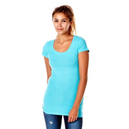 Womens Basic Scoop Neck Cap Sleeves Color Top T-Shirt RT1661-S-Turquoise