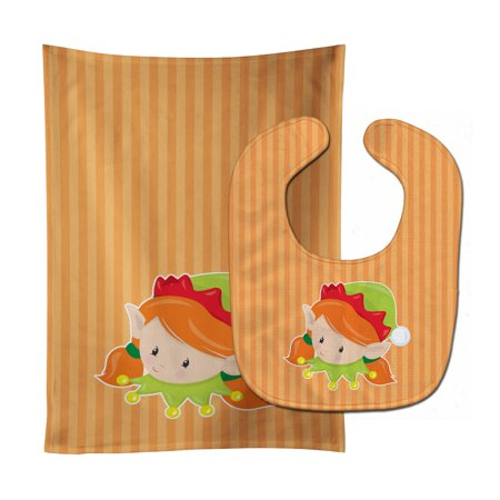 Christmas Ginger Girl Elf Baby Bib Burp Cloth