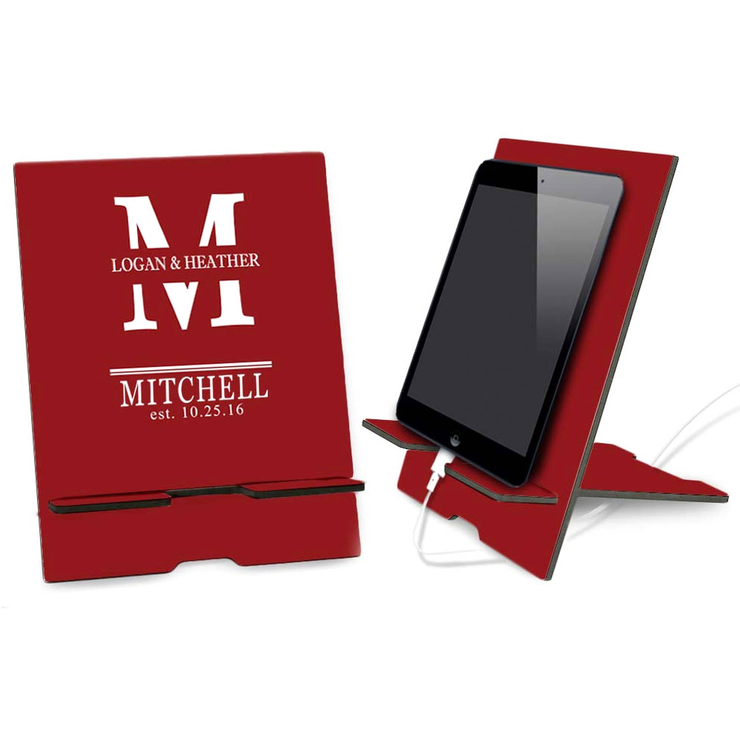 Couples Red Custom Book and iPad Stand
