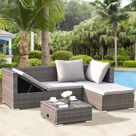 Costway 3PCS Rattan Wicker Sofa Furniture Set Steel Frame Adjustable Seat Patio Garden ()
