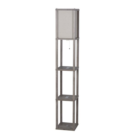5 foot 2 5 inch three shelf floor lamp rustic gray finish. Black Bedroom Furniture Sets. Home Design Ideas