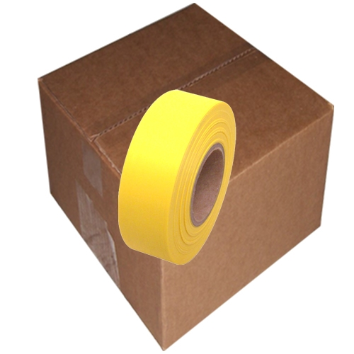 12 Roll Case of Yellow Flagging Tape 1 3/16 inch x 300 ft Non-Adhesive