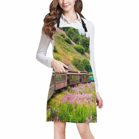 ASHLEIGH White Pass Yukon Route Railroad in Skagway Alaska USA Adjustable Bib Apron with Pockets Commercial Restaurant and Home Kitchen Adjustable