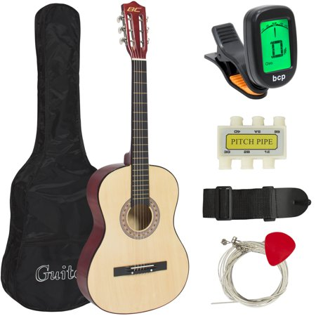 (Best Choice Products 38in Beginner Acoustic Guitar Bundle Kit w/ Case, Strap, Digital E-Tuner, Pick, Pitch Pipe, Strings - Natural)