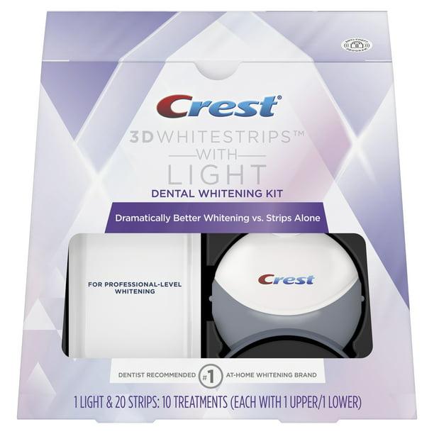 Crest 3d Whitestrips With Light Teeth Whitening Kit 20 Strips Walmart Com Walmart Com