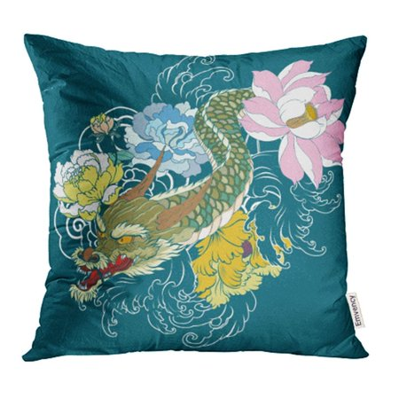 Lotus Peony (USART Japanese Dragon Tattoo with Lotus Chrysanthemum Peony and Cherry Flower Pillow Case Pillow Cover 18x18 inch Throw Pillow Covers )