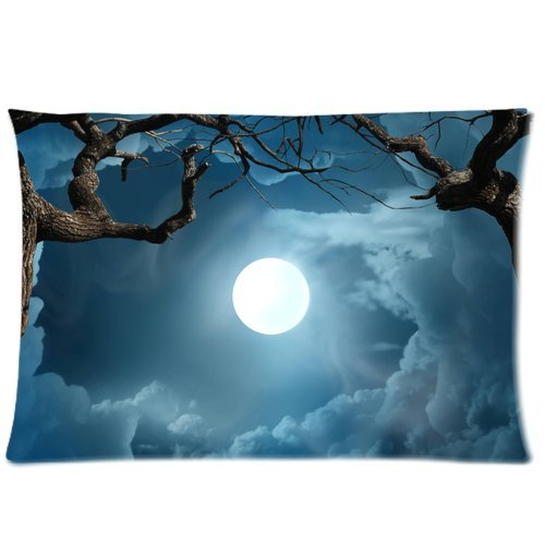 ZKGK Magic Moon Halloween Night Sky Tree Pillowcase Standard Size for Couch Bed 20 x 30 Inches,Cute Moon Branch Cloud Shams Decorative Pillow Cover Case
