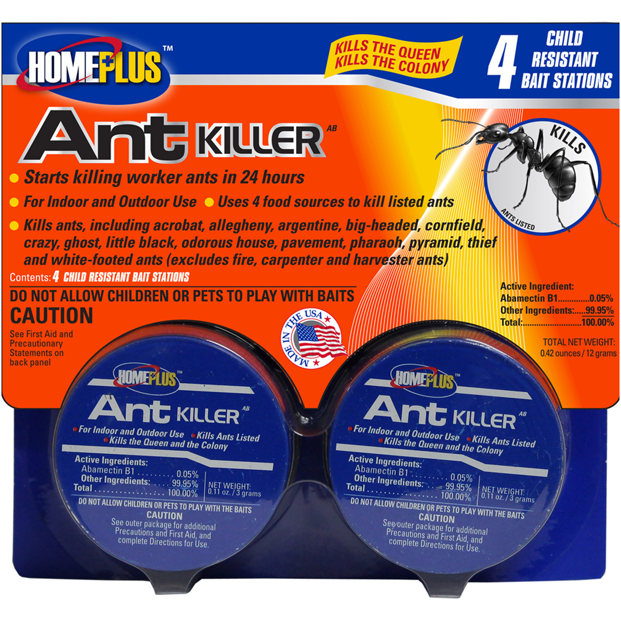HomePlus Ant Killer Child-Resistant Bait Stations, 4 count