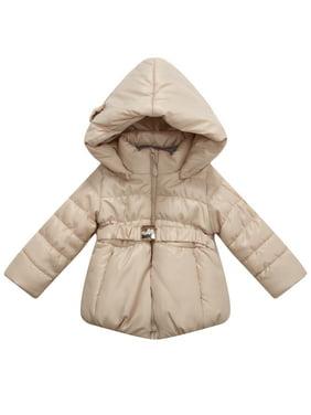 Richie House Little Girls Pink Hood Matching Belt Padded Jacket 5
