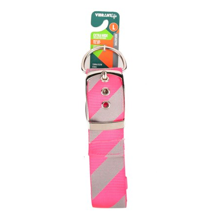 Vibrant Life Extra Wide Pink/Gray Striped Dog Collar, Large, 15-25, 1 3/4 in
