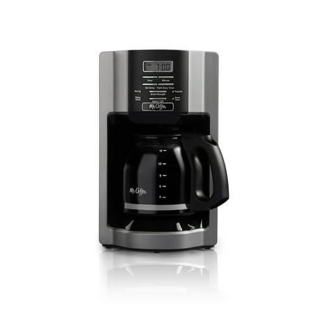 Mr. Coffee 12-Cup Programmable Coffeemaker, Rapid Brew, Brushed Metallic