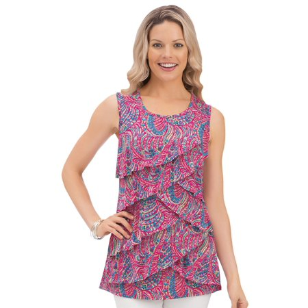 Tiered Print Ruffle Front Sleeveless Wide Strap Scoop Neck Tank Top Ruffle Printed Shell