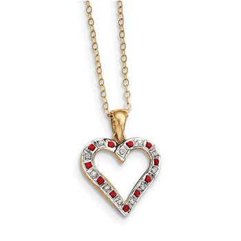 Lex & Lu Sterling Silver & Gold-plated Diamond & Ruby 18
