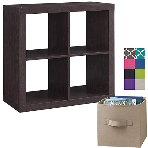Better Homes and Gardens Square 4-Cube Organizer with 4 Collapsible Fabric Storage Cubes, Mix and Match Colors