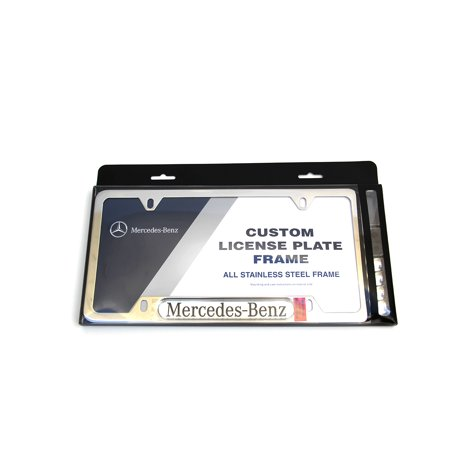 MERCEDES-BENZ POLISHED STAINLESS STEEL LICENSE PLATE FRAME MBZ LOGO GENUINE (Polished Stainless Steel License Plate)