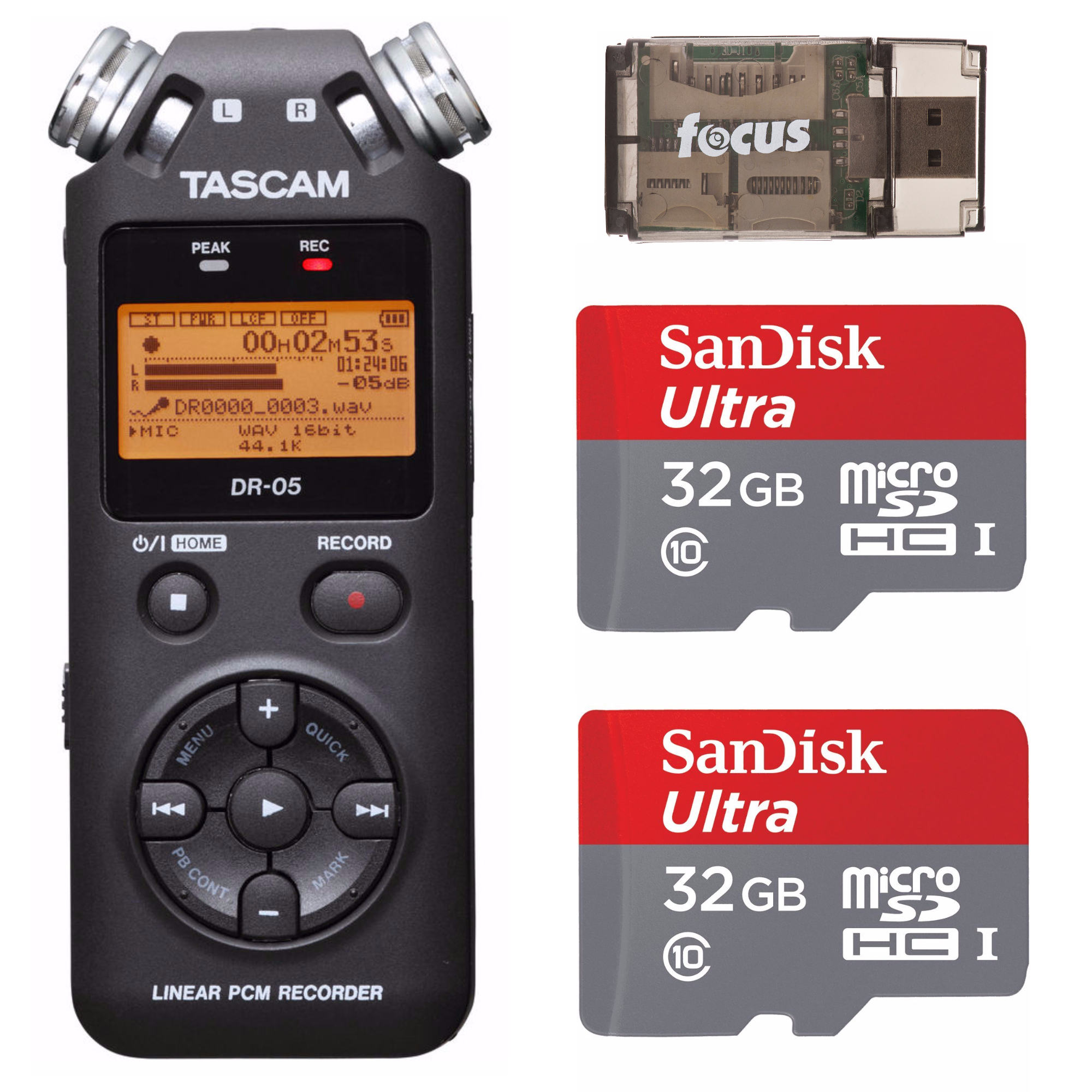 Tascam DR-05 Portable Digital Recorder w/ SanDisk 32GB Card (2-Pack) & Reader