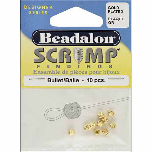 Beadalon Scrimp Finding Bullet Gold Plated, 10-Piece Multi-Colored
