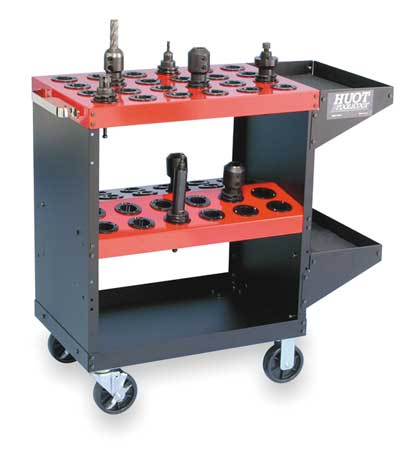 Huot CNC ToolScoot, 50 Taper, Heavy-Duty, Steel, Black Cart with Red Shelves, 13950