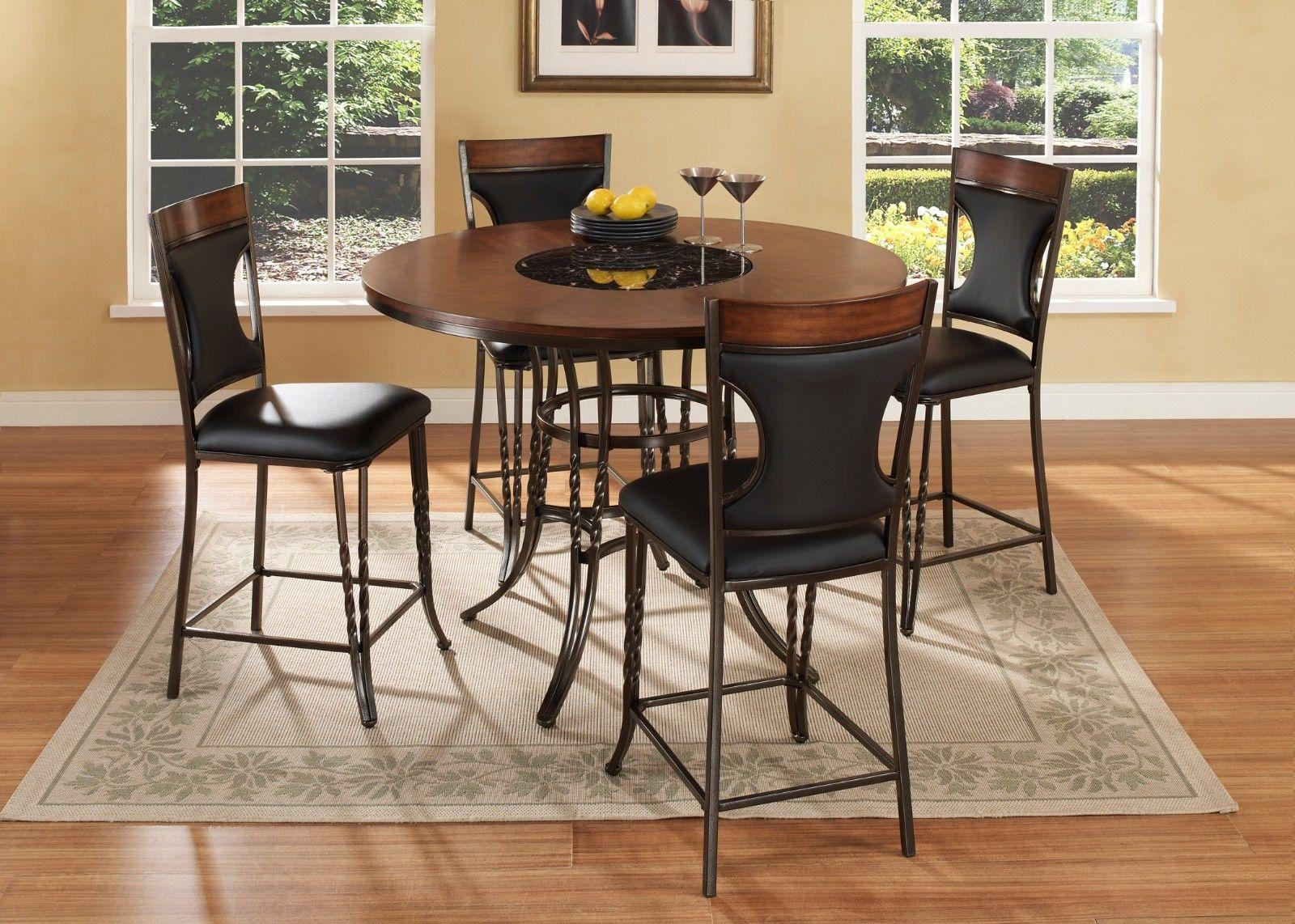 Mcferran Dynasty Contemporary Round Table Counter High Dining Room Set 5Pcs