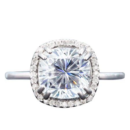 3 Carat Cushion Cut Moissanite And Diamond Pave Halo Engagement Ring In White Gold