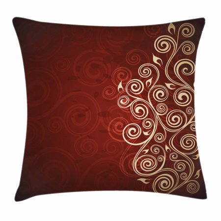 Burgundy Decor Throw Pillow Cushion Cover, Floral Flower Swirl Ivy Image with Ombre Grunge Backdrop Artwork, Decorative Square Accent Pillow Case, 16 X 16 Inches, White Ruby and Red, by Ambesonne