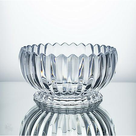 CrystalHouz Lead Free Crystal Bowl, Large, Jeneva Style, 23.5cm Diameter x 12cm Height