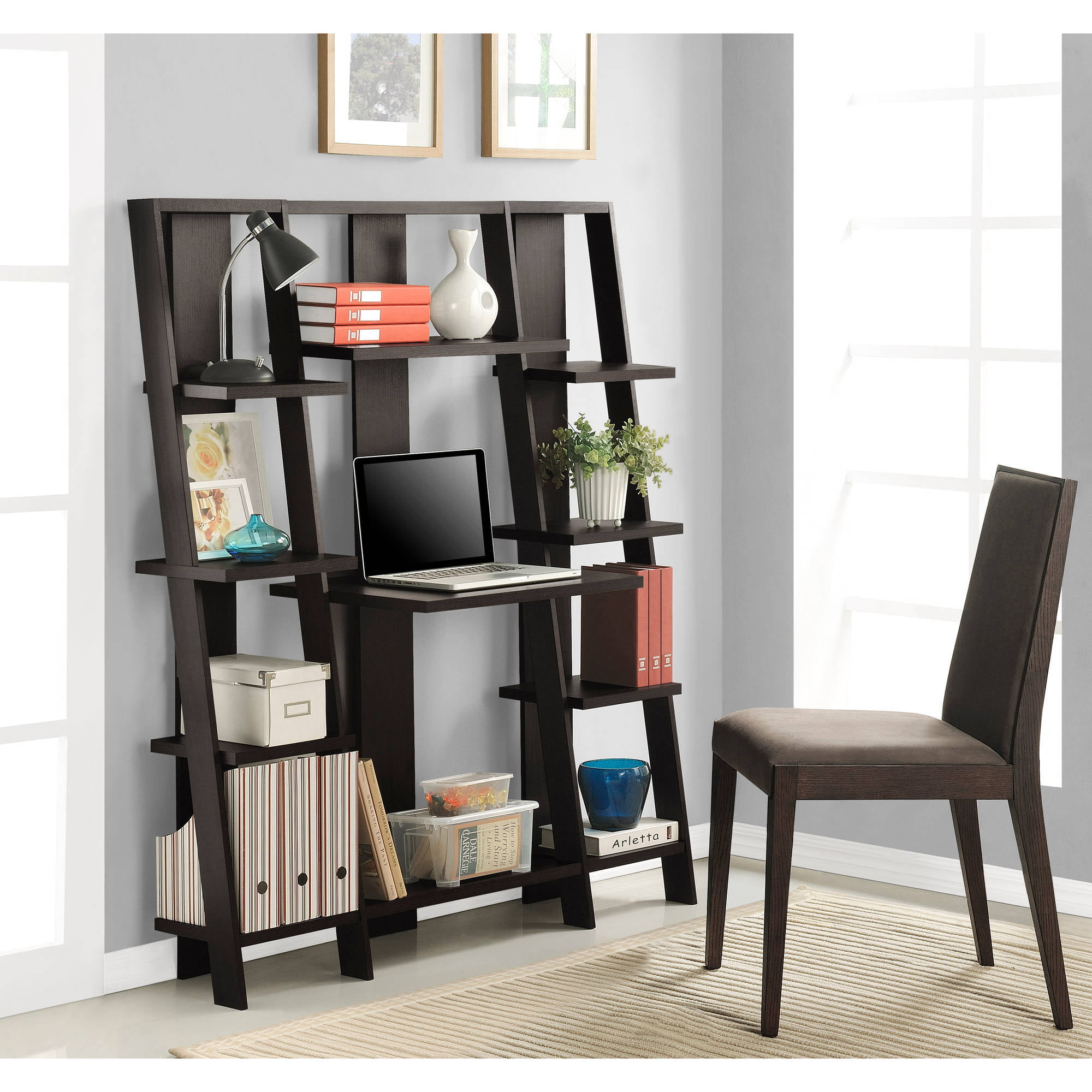 Ameriwood Home 59 Gradient Ladder Desk Bookcase Espresso