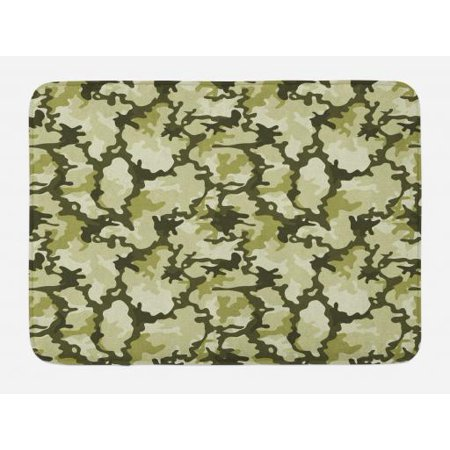 Camo Bath Mat, Pattern in Green Shades Background Woodland Wild Nature Design, Non-Slip Plush Mat Bathroom Kitchen Laundry Room Decor, 29.5 X 17.5 Inches, Pale Green Dark Green Pale Green, - Shade Bath Light