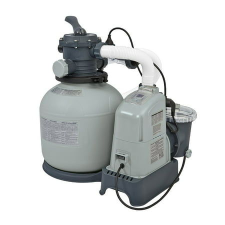 Intex 1600 GPH Saltwater System & Sand Filter Pump Set for Above Ground Pools Duo Clear Salt System