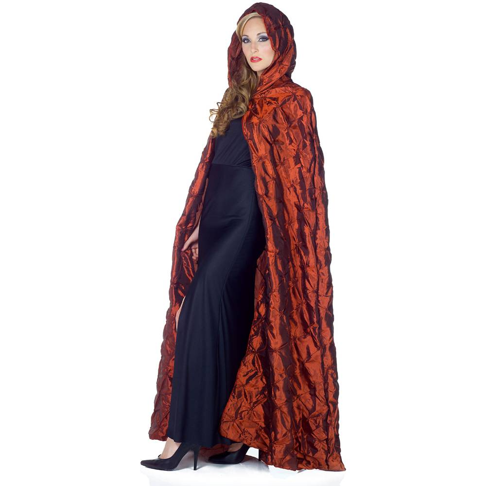 Red Full Length Taffeta Pintuck Cape