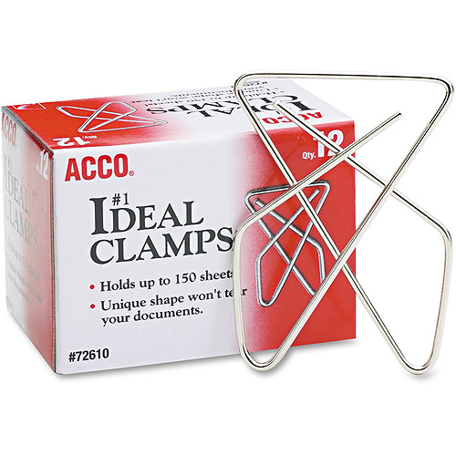 "Acco Ideal Clamps, Steel Wire, Large, 2-5/8"", Silver, 12/Box"