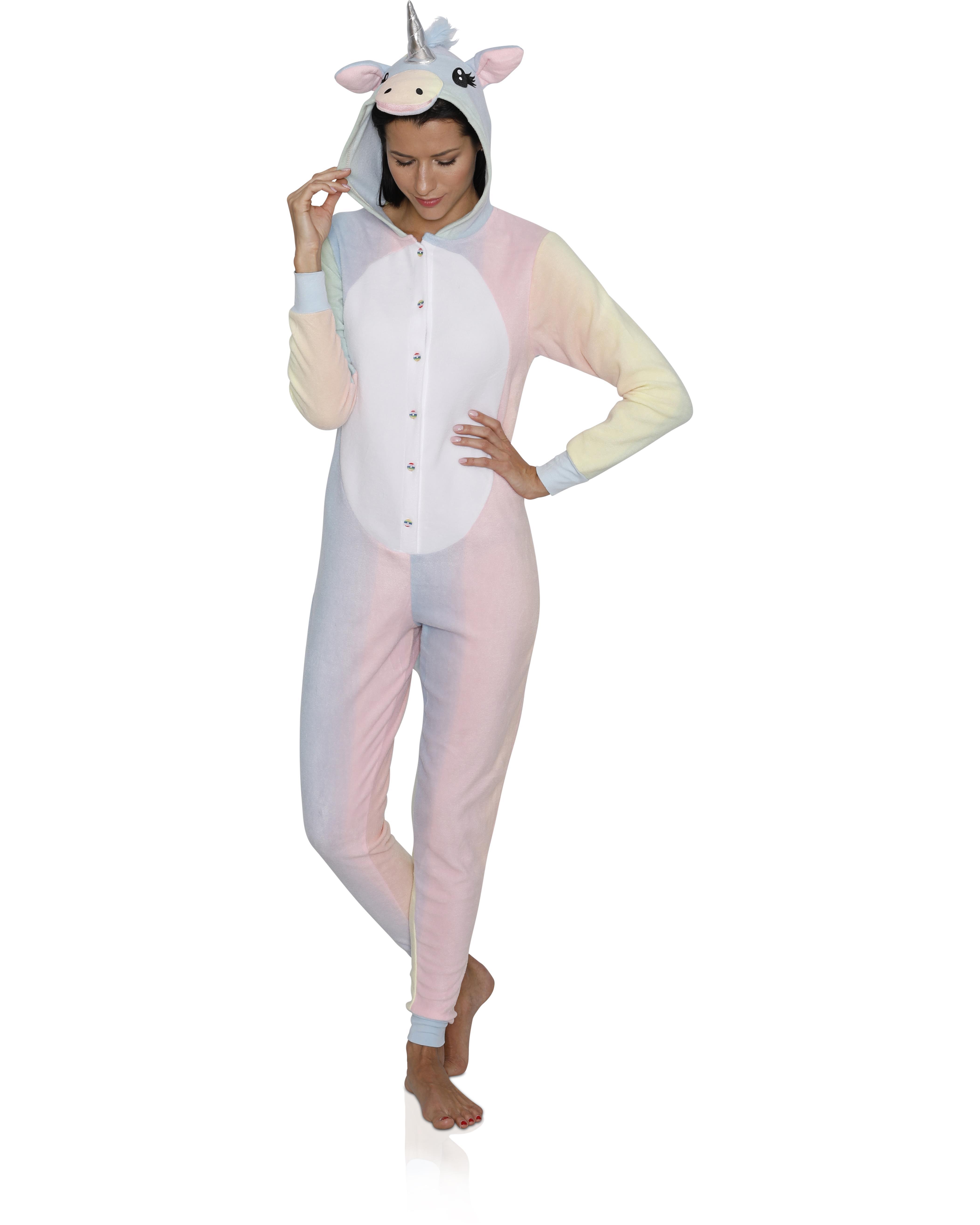 Animal Women's Adult Onesie Pajama Costume Cosplay, Unicorn, Size: M