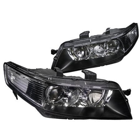 Spec-D Tuning 2004-2005 Acura Tsx 4Dr Sedan Jdm Replacement Black Projector Headlights Lamps Pair (Left + Right) 04 05
