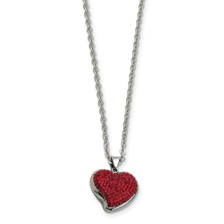 Stainless Steel Red Crystal Heart Pendant Chain Necklace Charm S/love Fashion Jewelry For Women Gifts For Her - image 7 de 7