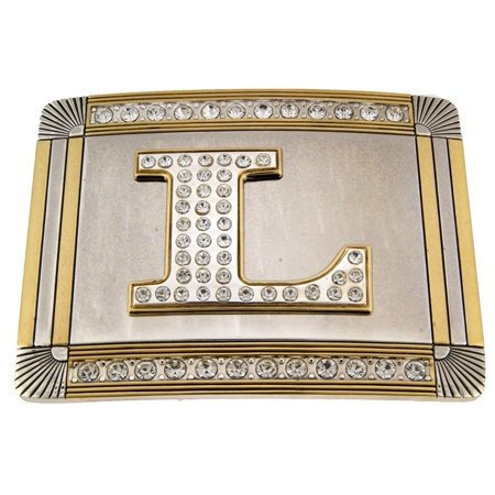 - New Initial L Letter Alphabet Belt Buckle Western Cowboy Rodeo Gold Silver Shiny