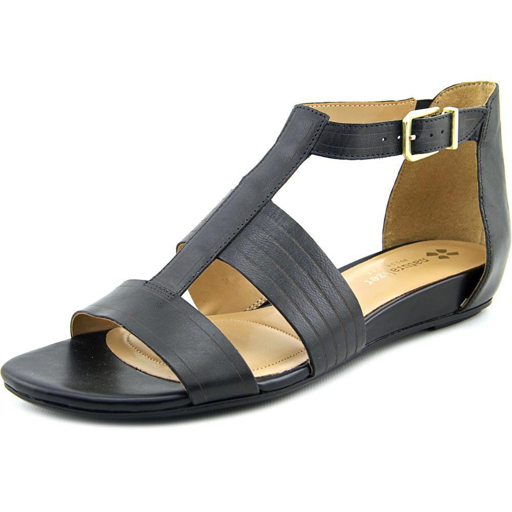 Naturalizer Longing Women Open Toe Leather Black Gladiator Sandal by Naturalizer