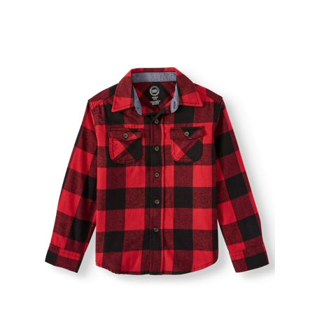 Wonder Nation Long Sleeve Flannel Shirt (Little Boys, Big Boys, & Husky)