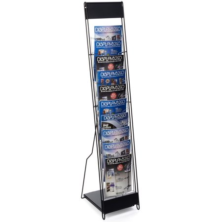 Overlapping Magazine Display - Displays2go Portable Magazine Rack with 10 Pockets for 8.5x11 Catalogs, Carry Bag Included, 54
