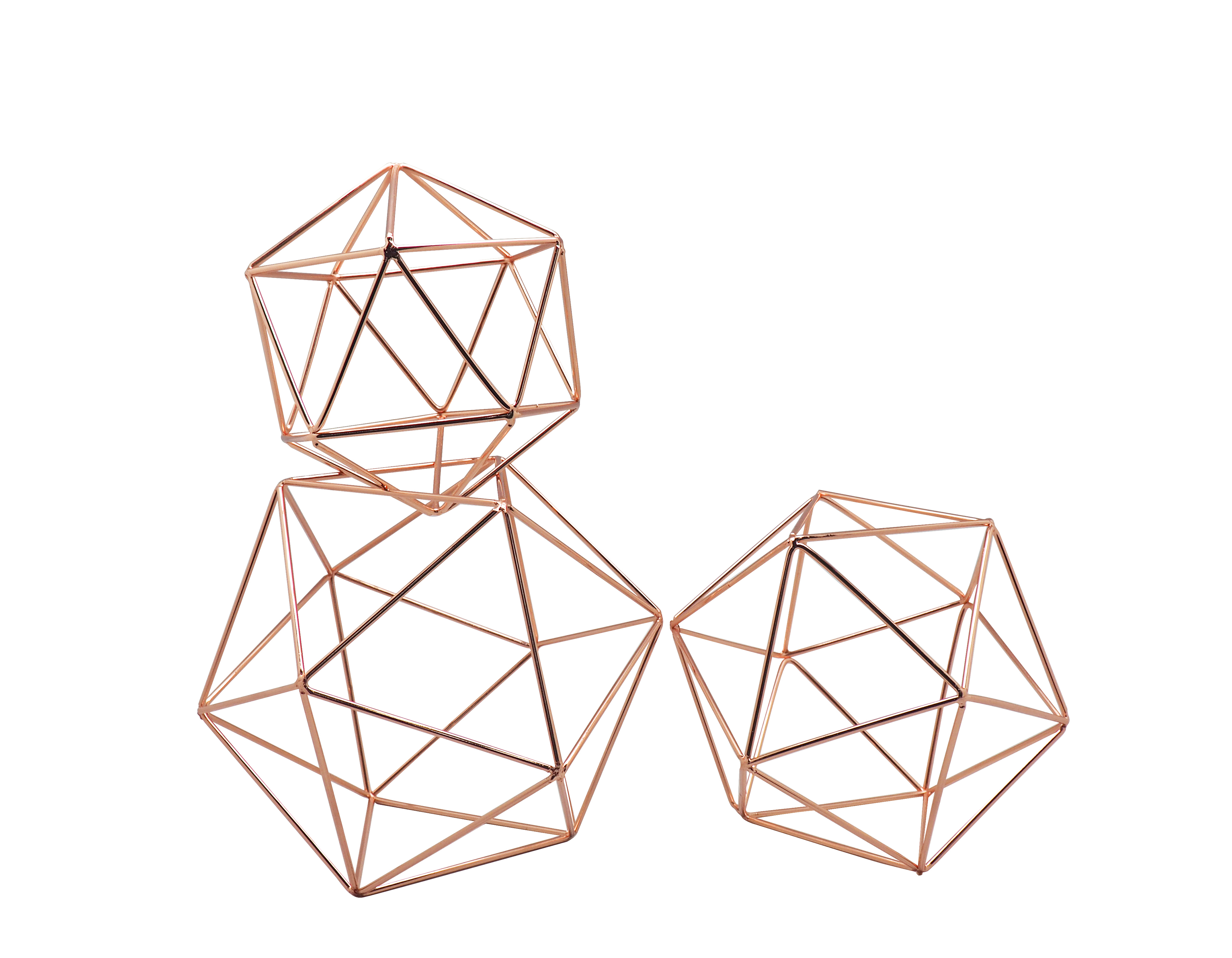 Koyal Wholesale Rose Gold Geometric Decor Shapes Set Of 3 Himmelis