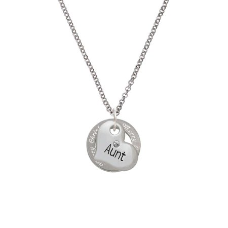 Silvertone Large ''Aunt'' Heart with Clear Crystal Merry Christmas Affirmation Ring Necklace