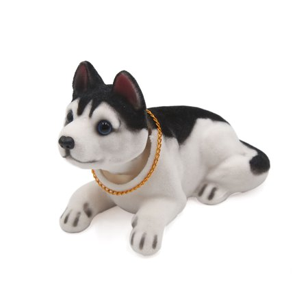 Black White Husky Shaped Shaking Head Nodding Dog Decoration for Car Dashboard (Cars Decoration)